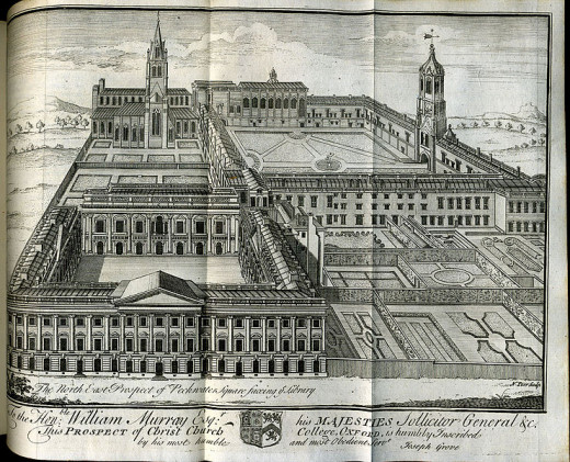 Christ Church at the University of Oxford, engraving by N. Parr, 1742