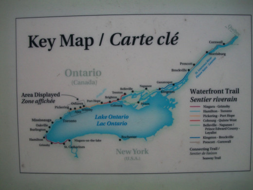 Interpretive panel with Waterfront Trail map