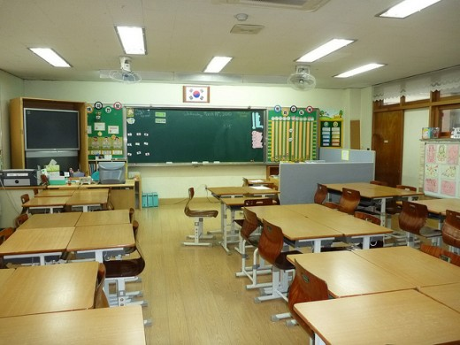 Classroom with large sized desks