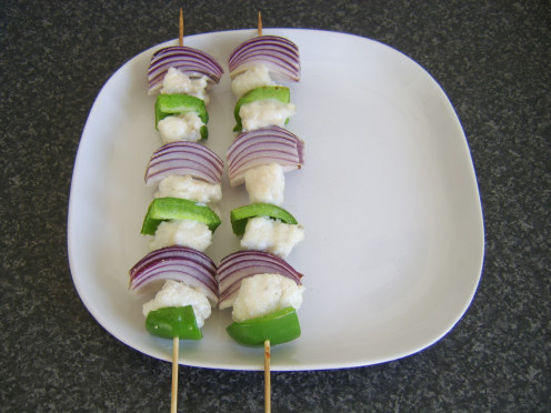 Chunks of meaty ling are skewered with green pepper and red onion before being grilled