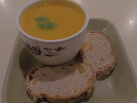 Butternut Pumpkin Soup with Mango and Sesame Bread at Tiong Bahru Bakery, Raffles City