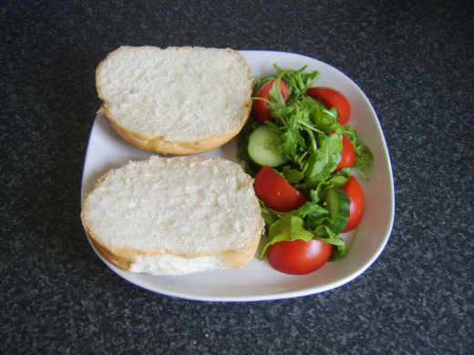 Bread roll and simple salad
