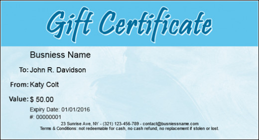 A sample of a free gift certificate you can make online.