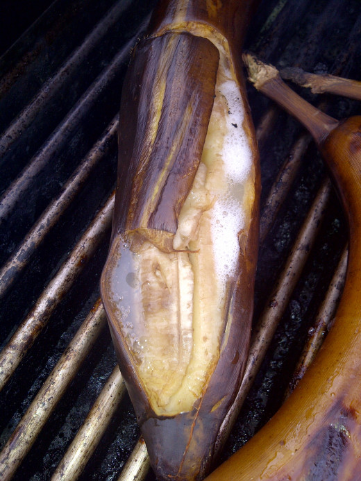 This is a grilled banana when done- 14 minutes on each side