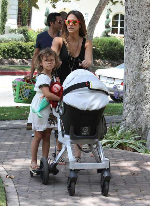 Jessica Alba with daughters Honor and Haven