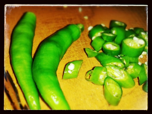 Step 3: Slice Chillies into small pieces