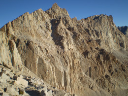 Summit of Mt. Whitney (right) from near Trail Crest. California.
