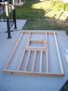 Assembled frame of back wall viewed from bottom.