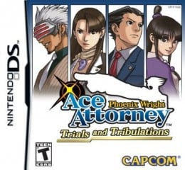 Phoenix Wright Ace Attorney: Trials and Tribulations Nintendo DS game cover. From left to right: Godot, Mia Fey, Phoenix Wright, Maya Fey
