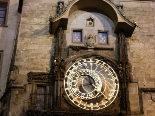 A close-up view of the Astronomical Clock