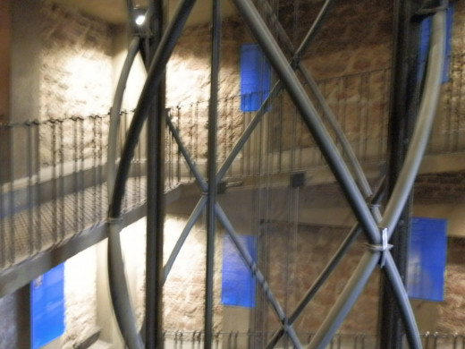 Winding internal staircase that leads to the top of the Clock Tower for spectacular views