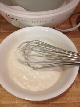 Whisk starter with cooled scalded soy milk.