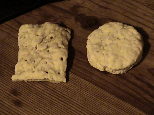 19th Century civil war hardtack, as reproduced faithfully by a civil war re-enactor. To the left, army hardtack. To the right, Navy hardtack. Both would never be seen just laying around. They would either be in a barrel, a haversack, or human hand
