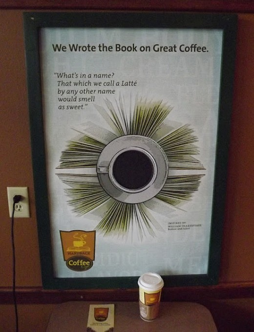 "A ""Punny"" Poster with Brochure and Egg Nog Latte in the Foreground"