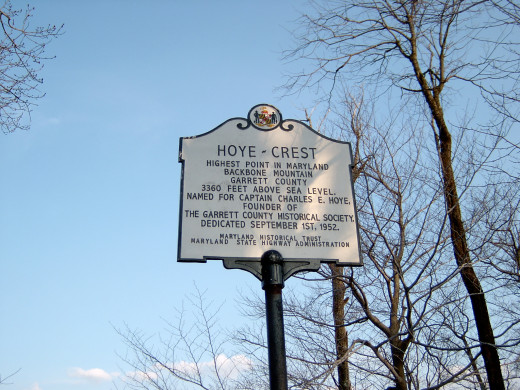 Hoye-Crest historical marker marks the high point of Maryland on Backbone Mountain.