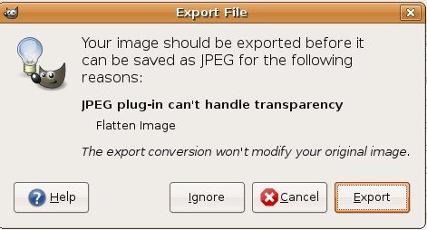 Export Warning, because JPEG cannot handle layers.