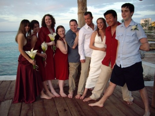Wedding etiquette says this is a more acceptable pose at a destination (beach) wedding.