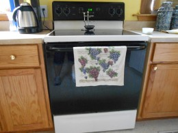 Hang kitchen towels on the bar of your oven door to keep them dry.
