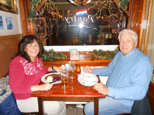 My husband and I having dinner at the Pantry restaurant. If you look closely at my plate, you can see my meal of savoury beef with onions, red cabbage and mashed potatoes, and my husband's bowl of pea soup!