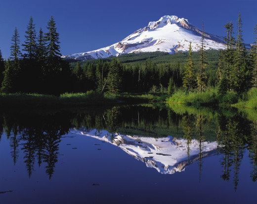 Oregon's majestic, ice-covered Mount Hood.
