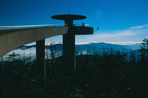 The fifty foot spiral observation deck on Clingmans Dome, Tennessee.