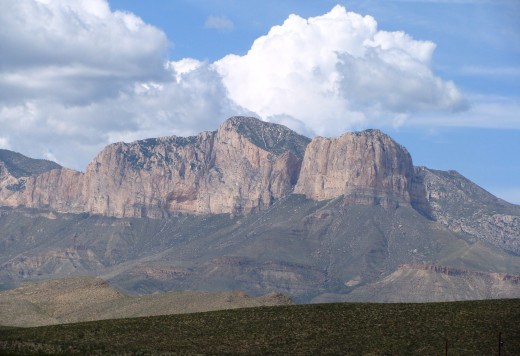 Guadalupe Peak from the west. High point of Texas.