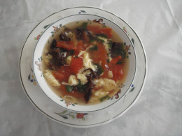Fig.1. Tomato and egg drop soup ready to serve.