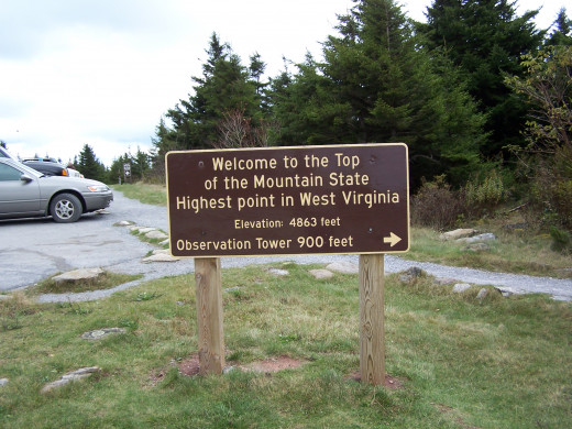Spruce Knob, West Virginia summit parking area.