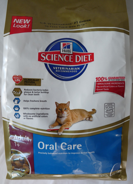 Hill's Science Diet Oral Care Formula Dry Cat Food can be bought in pet stores.