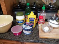 Gather your crab cake ingredients.