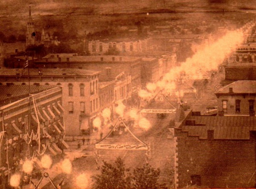 Flambeaux lights like these burned day and night and wasted huge amounts of natural gas during the Indiana Gas Boom