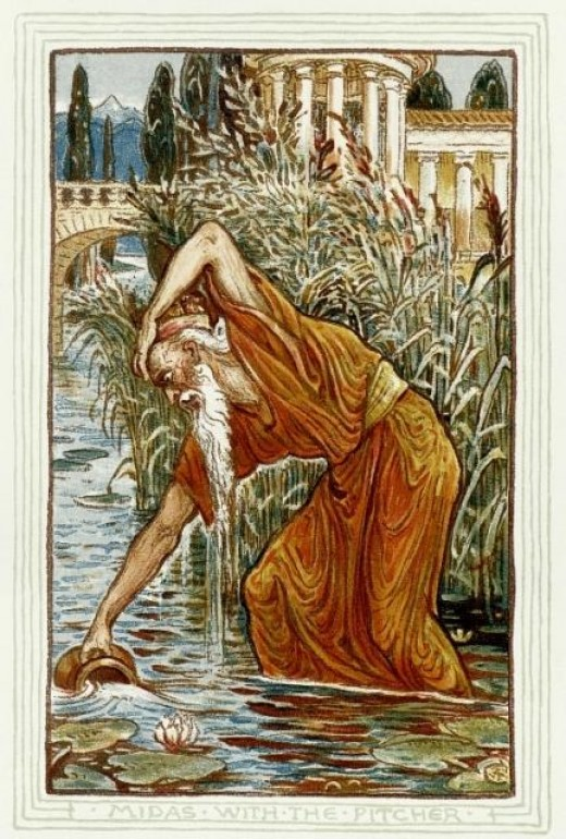 1892 drawing by Walter Crane of King Midas washing in the river Pactolus