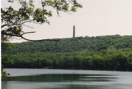 High Point, New Jersey with summit monument overlooking Lake Marcia.