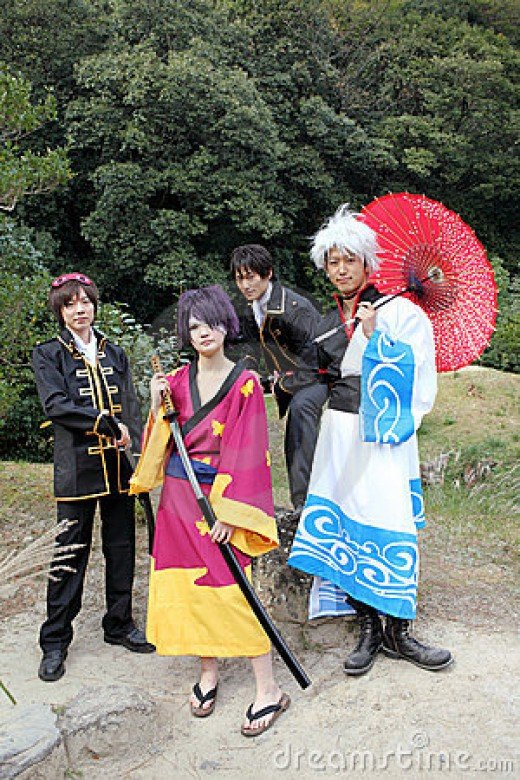 Japanese cosplayers in kimono