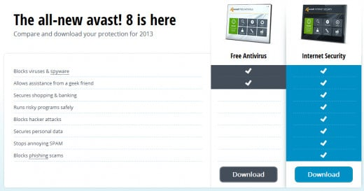 Avast! download page (link below)