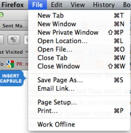 The drop down tab used to initiate a New Private Window on a MacBook.  It looks more or less the same on a PC.