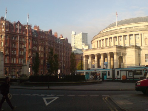 St Peter's Square, Manchester City Centre.  The Midland Hotel (left) and Manchester Central Library (right)