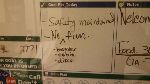The nurse gave me some goals.  I decided to amend them slightly.