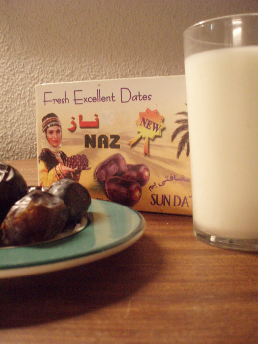 The most traditional way to break the fasts of Ramadan is with dates and a glass of water or milk.
