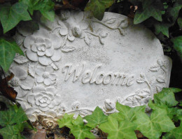 Welcome sign to garden area