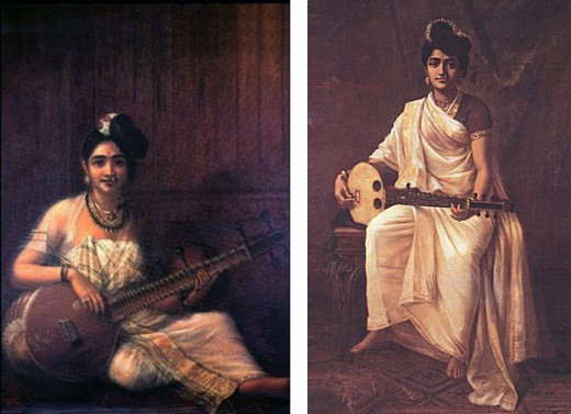 Indian Beauties with Veena a musical instrument.