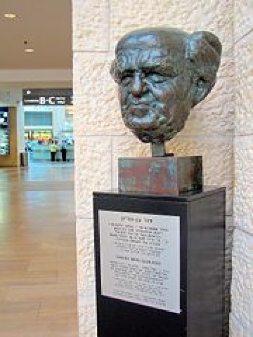 Ben Gurion, Israeli first Prime Minister. Statue in the airport
