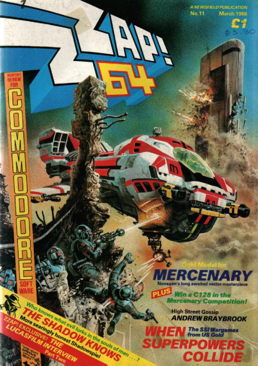 The Front Cover To Zzap 64 From March 1986. Superb artwork from Oliver Frey