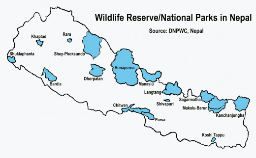 National Parks, Wildlife Reserve and Conservation Areas in Nepal