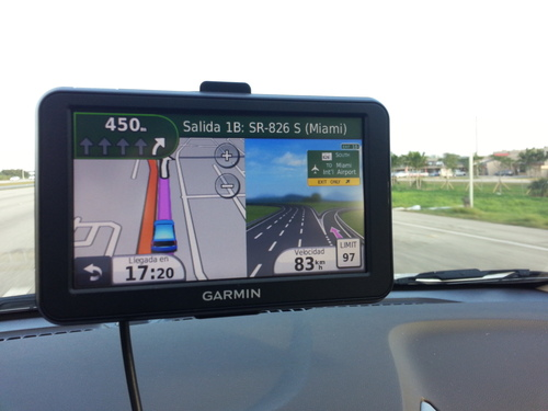 The Garmin Nuvi 50LM on the vehicle dash. The 40LM is a bit cheaper but has the 4.3 inch vs. 5 inch screen you see here with the 50LM.