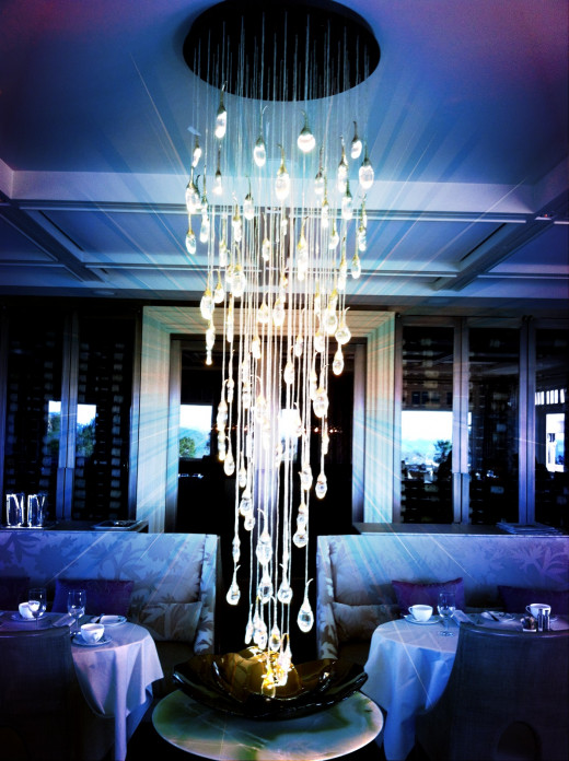 A spectacular chandelier inside the dining room.