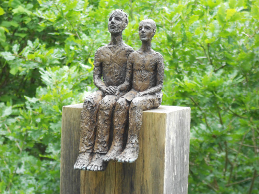 """One of a collection of """"couples"""" sculptures by Carol Peace"""