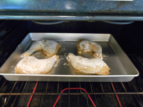 Use a large enough baking pan so that all of your chicken pieces cook individually.