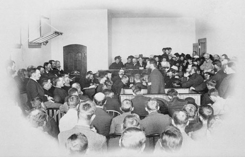 Louis Riel at his trial, 1885