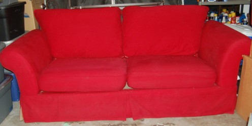 My very own, bright red, 7ft long couch